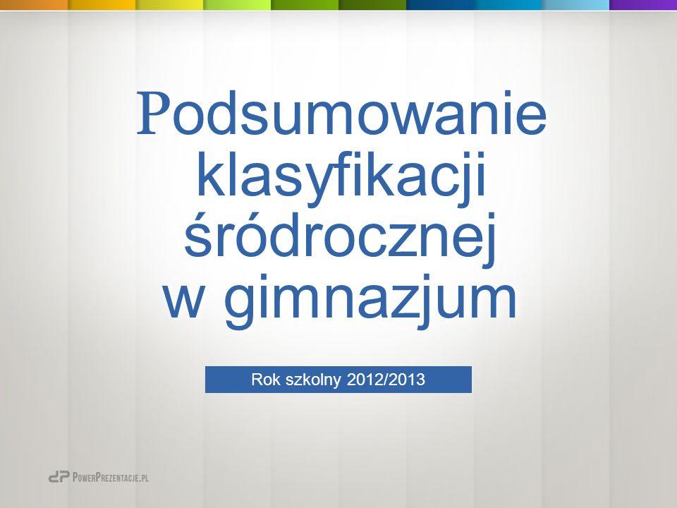 P odsumowanie klasyfikacji śródrocznej w gimnazjum P odsumowanie klasyfikacji śródrocznej w gimnazjum Rok szkolny 2012/2013