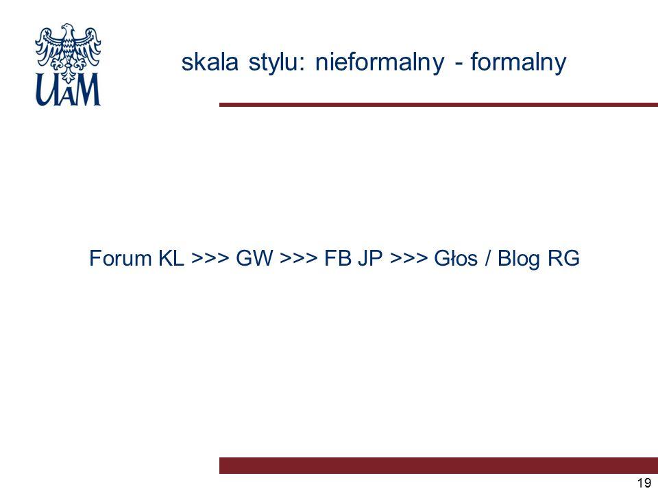 skala stylu: nieformalny - formalny 19 Forum KL >>> GW >>> FB JP >>> Głos / Blog RG
