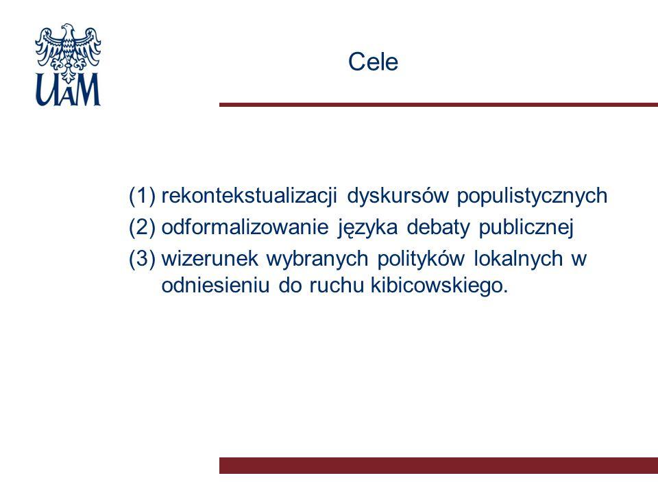 Cele (1)rekontekstualizacji dyskursów populistycznych (2)odformalizowanie języka debaty publicznej (3)wizerunek wybranych polityków lokalnych w odniesieniu do ruchu kibicowskiego.