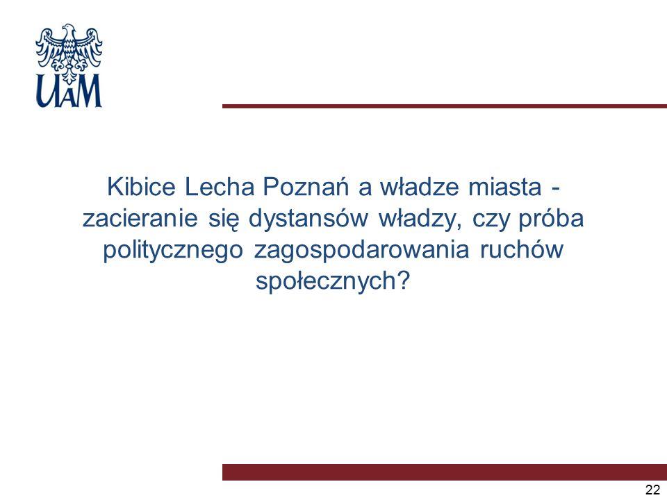 Kibice Lecha Poznań a władze miasta - zacieranie się dystansów władzy, czy próba politycznego zagospodarowania ruchów społecznych.