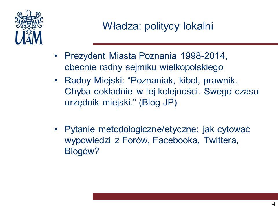 Władza: politycy lokalni Prezydent Miasta Poznania 1998-2014, obecnie radny sejmiku wielkopolskiego Radny Miejski: Poznaniak, kibol, prawnik.