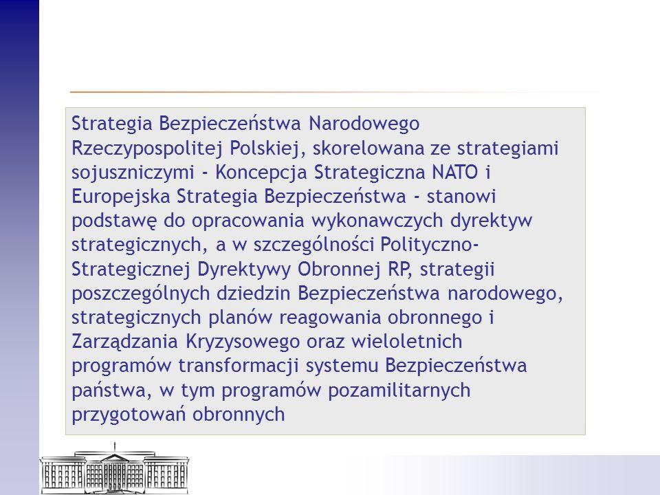 Strategia Bezpieczeństwa Narodowego Rzeczypospolitej Polskiej, skorelowana ze strategiami sojuszniczymi - Koncepcja Strategiczna NATO i Europejska Strategia Bezpieczeństwa - stanowi podstawę do opracowania wykonawczych dyrektyw strategicznych, a w szczególności Polityczno- Strategicznej Dyrektywy Obronnej RP, strategii poszczególnych dziedzin Bezpieczeństwa narodowego, strategicznych planów reagowania obronnego i Zarządzania Kryzysowego oraz wieloletnich programów transformacji systemu Bezpieczeństwa państwa, w tym programów pozamilitarnych przygotowań obronnych