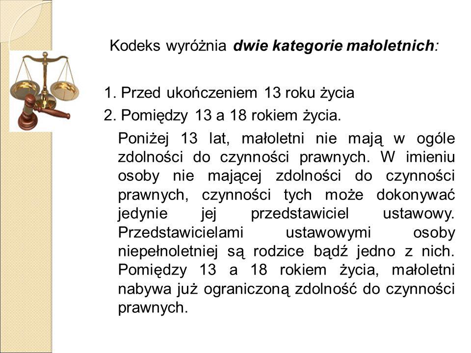 Kodeks wyróżnia dwie kategorie małoletnich: 1. Przed ukończeniem 13 roku życia 2.