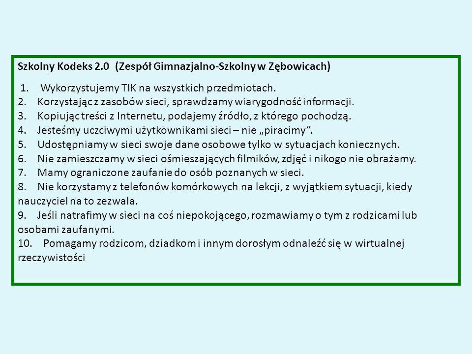 Szkolny Kodeks 2.0 (Zespół Gimnazjalno-Szkolny w Zębowicach) 1.