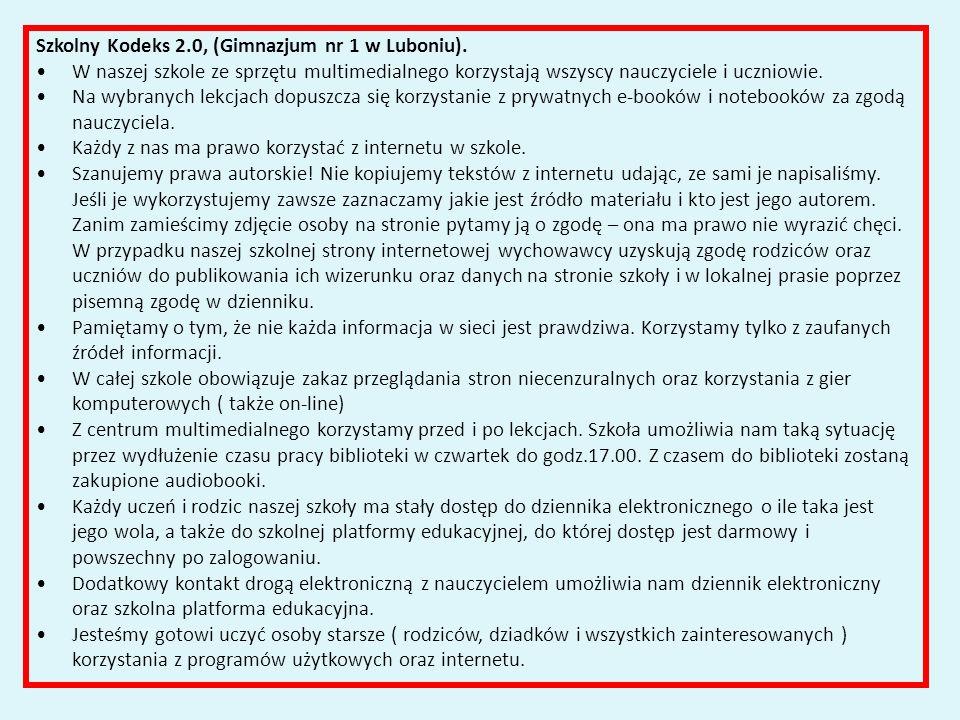 Szkolny Kodeks 2.0, (Gimnazjum nr 1 w Luboniu).