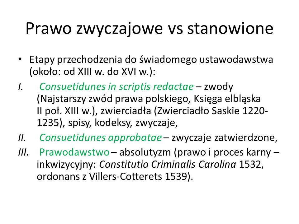 Prawo zwyczajowe vs stanowione Etapy przechodzenia do świadomego ustawodawstwa (około: od XIII w. do XVI w.): I. Consuetidunes in scriptis redactae –