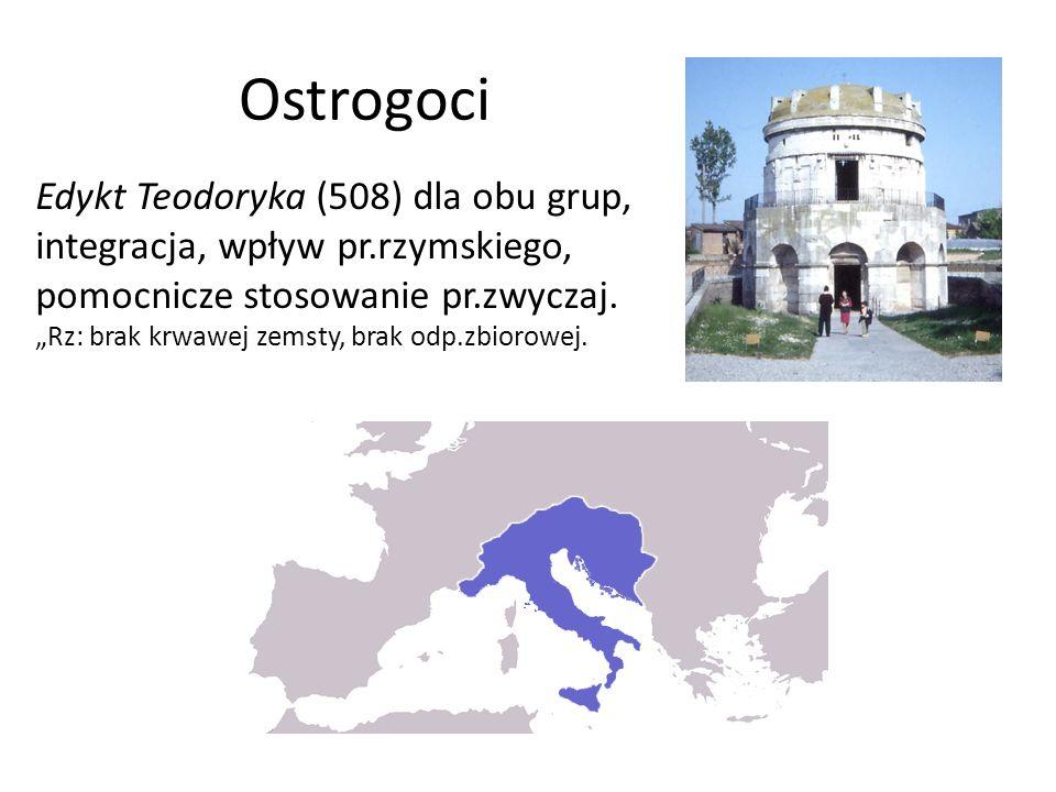 """Ostrogoci Edykt Teodoryka (508) dla obu grup, integracja, wpływ pr.rzymskiego, pomocnicze stosowanie pr.zwyczaj. """"Rz: brak krwawej zemsty, brak odp.zb"""
