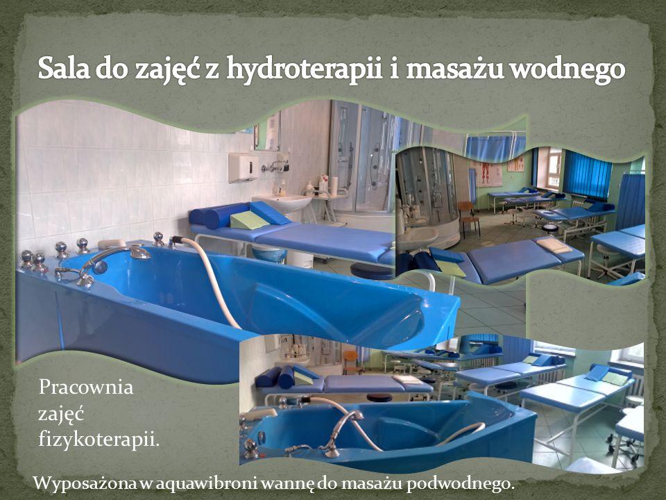 Pracownia zajęć fizykoterapii. Wyposażona w aquawibroni wannę do masażu podwodnego.