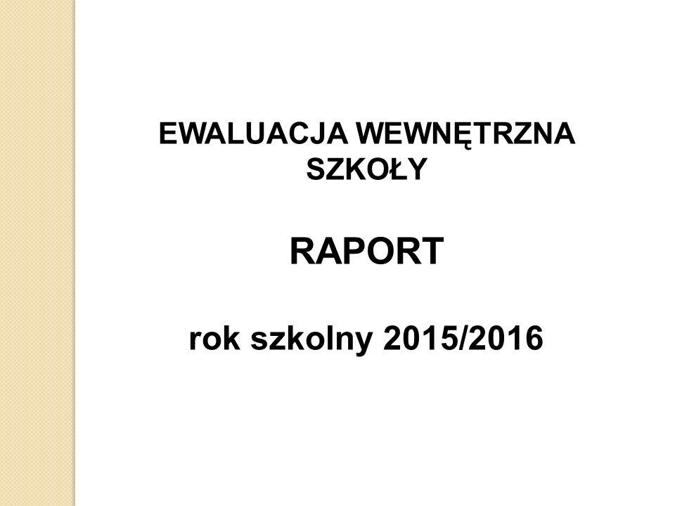 EWALUACJA WEWNĘTRZNA SZKOŁY RAPORT rok szkolny 2015/2016