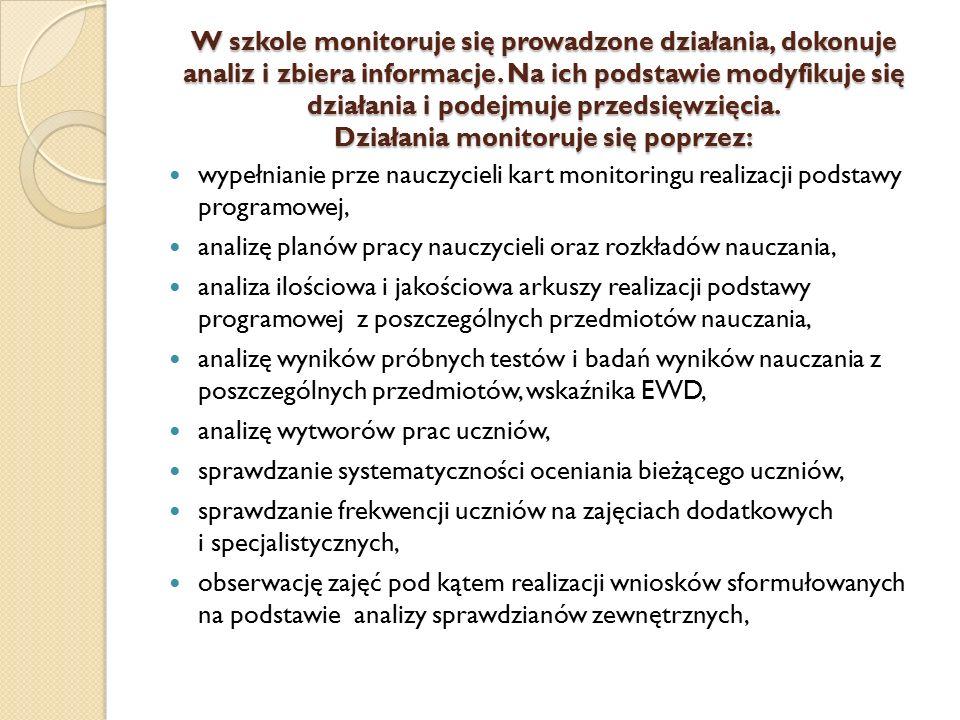 W szkole monitoruje się prowadzone działania, dokonuje analiz i zbiera informacje. Na ich podstawie modyfikuje się działania i podejmuje przedsięwzięc