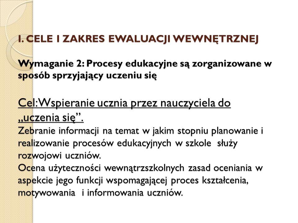 I. CELE I ZAKRES EWALUACJI WEWNĘTRZNEJ Wymaganie 2: Procesy edukacyjne są zorganizowane w sposób sprzyjający uczeniu się Cel: Wspieranie ucznia przez