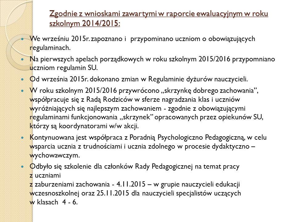 Zgodnie z wnioskami zawartymi w raporcie ewaluacyjnym w roku szkolnym 2014/2015: We wrześniu 2015r. zapoznano i przypominano uczniom o obowiązujących