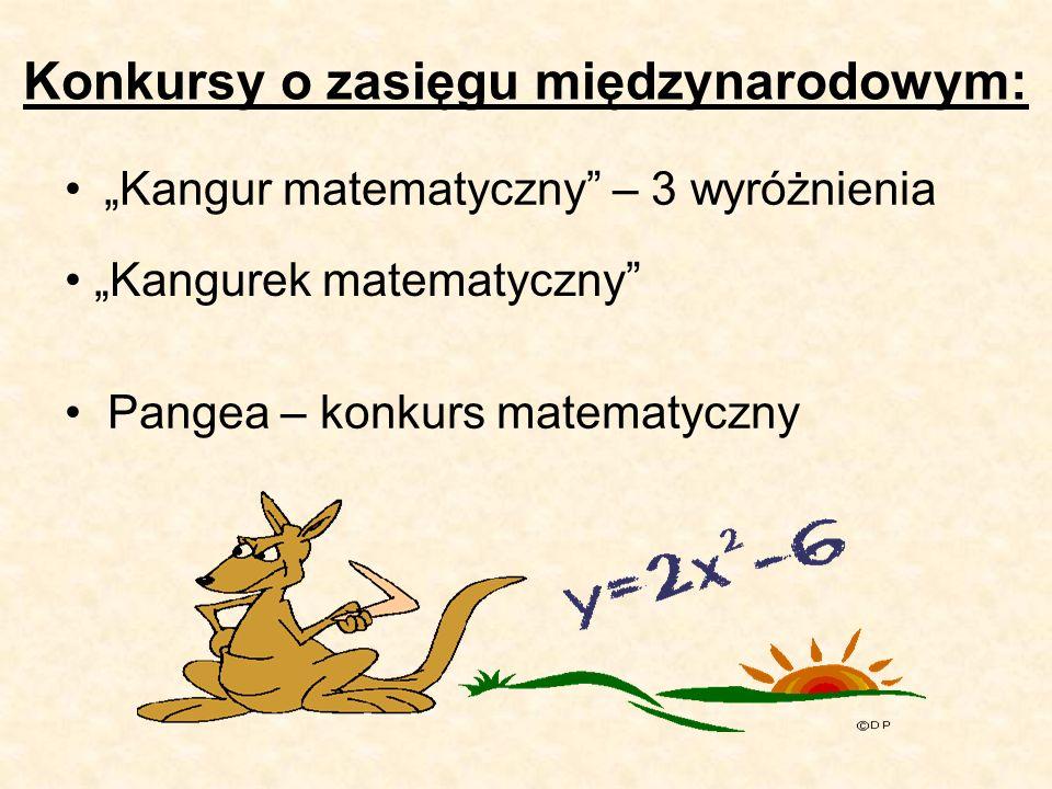 """Konkursy o zasięgu międzynarodowym: """"Kangur matematyczny – 3 wyróżnienia """"Kangurek matematyczny Pangea – konkurs matematyczny"""