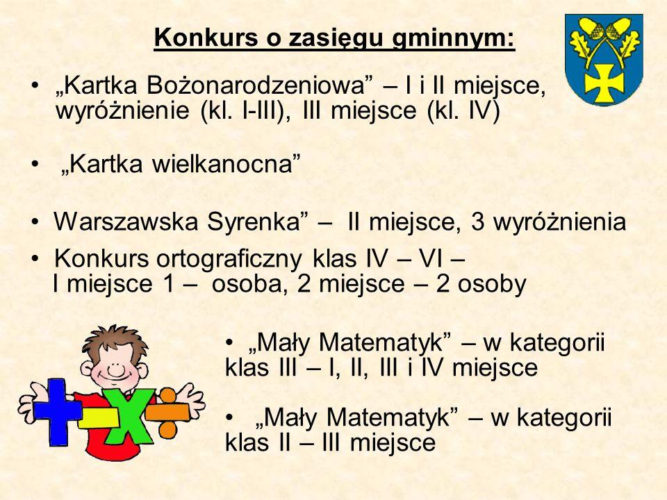 """Konkurs o zasięgu gminnym: """"Kartka Bożonarodzeniowa – I i II miejsce, wyróżnienie (kl."""