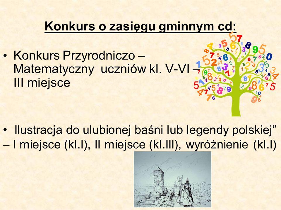 Konkurs o zasięgu gminnym cd: Konkurs Przyrodniczo – Matematyczny uczniów kl.
