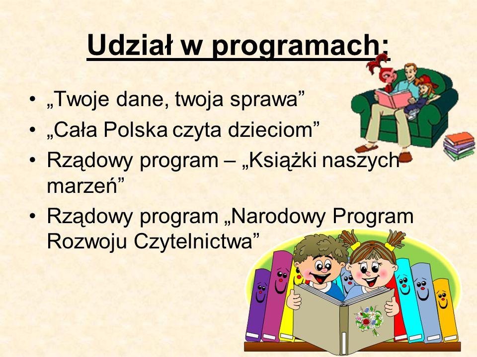 """Udział w programach: """"Twoje dane, twoja sprawa """"Cała Polska czyta dzieciom Rządowy program – """"Książki naszych marzeń Rządowy program """"Narodowy Program Rozwoju Czytelnictwa"""