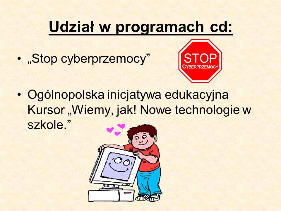"""Udział w programach cd: """"Stop cyberprzemocy Ogólnopolska inicjatywa edukacyjna Kursor """"Wiemy, jak."""