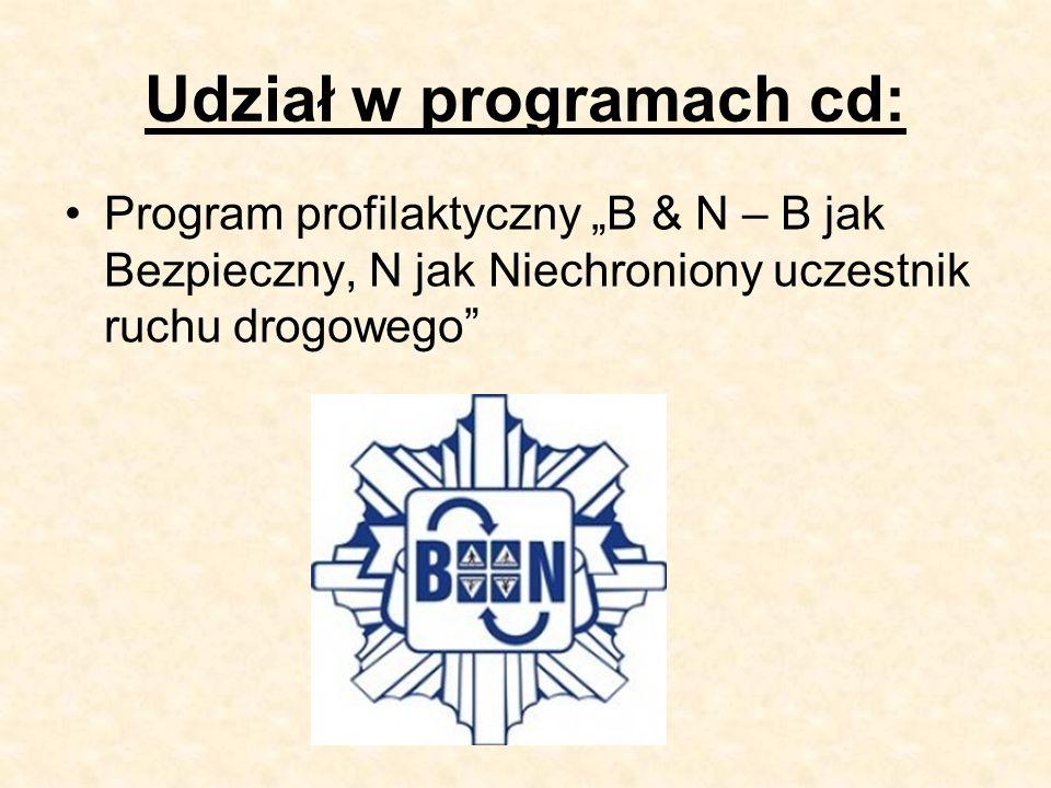 """Udział w programach cd: Program profilaktyczny """"B & N – B jak Bezpieczny, N jak Niechroniony uczestnik ruchu drogowego"""
