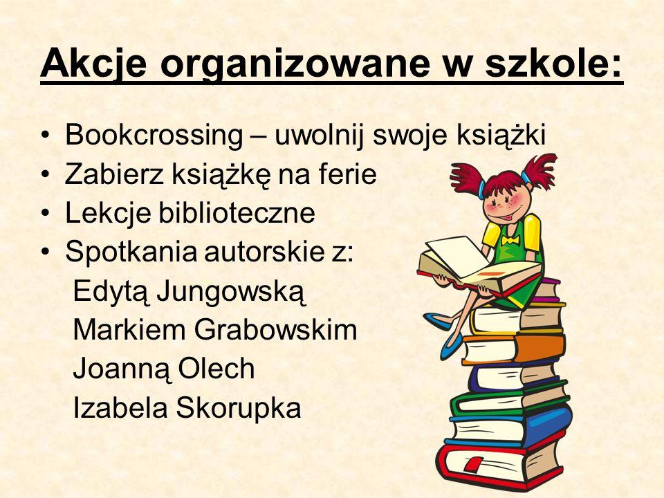 Akcje organizowane w szkole: Bookcrossing – uwolnij swoje książki Zabierz książkę na ferie Lekcje biblioteczne Spotkania autorskie z: Edytą Jungowską Markiem Grabowskim Joanną Olech Izabela Skorupka
