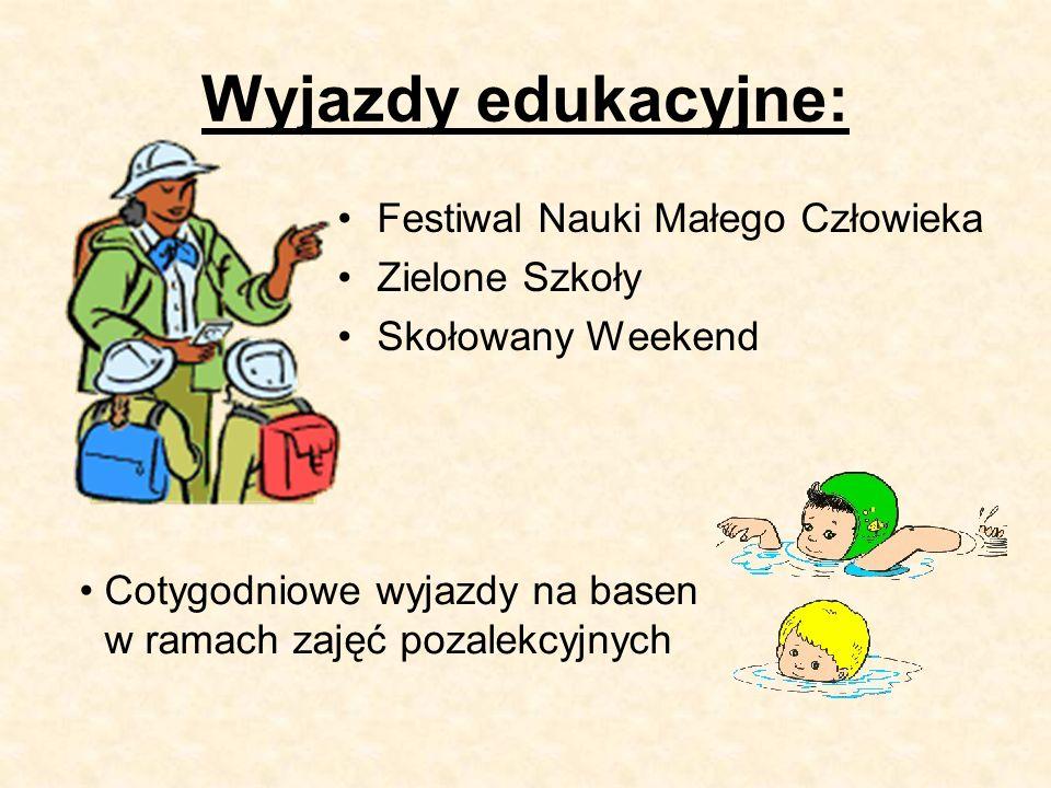 Wyjazdy edukacyjne: Festiwal Nauki Małego Człowieka Zielone Szkoły Skołowany Weekend Cotygodniowe wyjazdy na basen w ramach zajęć pozalekcyjnych