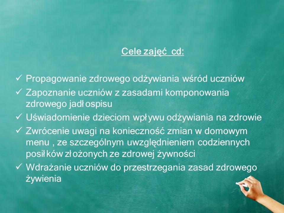 Cele zajęć cd: Propagowanie zdrowego odżywiania wśród uczniów Zapoznanie uczniów z zasadami komponowania zdrowego jadłospisu Uświadomienie dzieciom wpływu odżywiania na zdrowie Zwrócenie uwagi na konieczność zmian w domowym menu, ze szczególnym uwzględnieniem codziennych posiłków złożonych ze zdrowej żywności Wdrażanie uczniów do przestrzegania zasad zdrowego żywienia