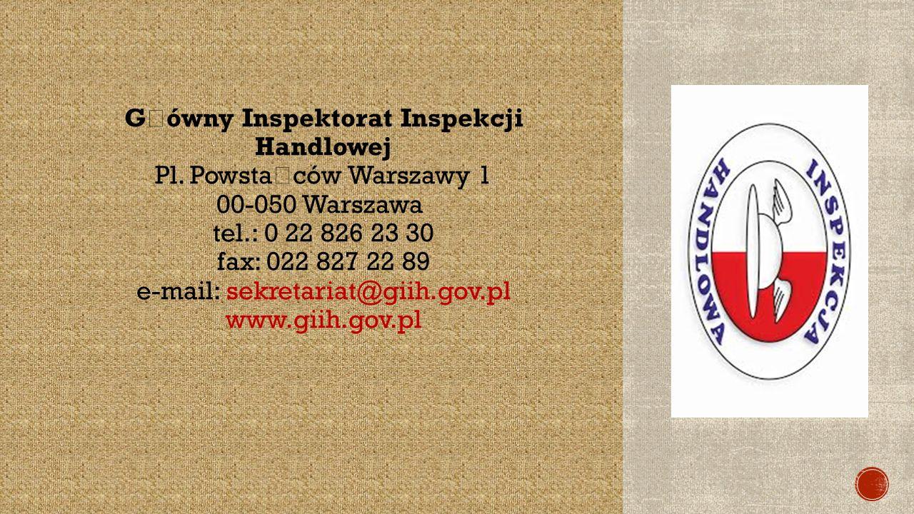 G ł ówny Inspektorat Inspekcji Handlowej Pl.