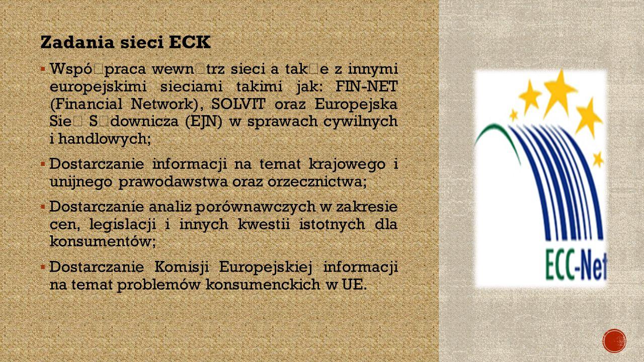 Zadania sieci ECK  Wspó ł praca wewn ą trz sieci a tak ż e z innymi europejskimi sieciami takimi jak: FIN-NET (Financial Network), SOLVIT oraz Europejska Sie ć S ą downicza (EJN) w sprawach cywilnych i handlowych;  Dostarczanie informacji na temat krajowego i unijnego prawodawstwa oraz orzecznictwa;  Dostarczanie analiz porównawczych w zakresie cen, legislacji i innych kwestii istotnych dla konsumentów;  Dostarczanie Komisji Europejskiej informacji na temat problemów konsumenckich w UE.