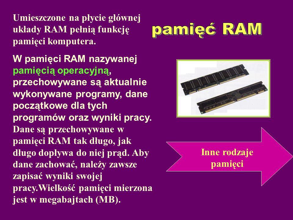 Umieszczone na płycie głównej układy RAM pełnią funkcję pamięci komputera.