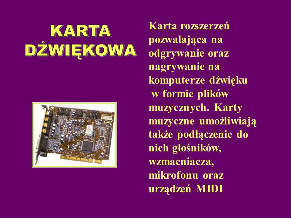 Karta rozszerzeń pozwalająca na odgrywanie oraz nagrywanie na komputerze dźwięku w formie plików muzycznych.