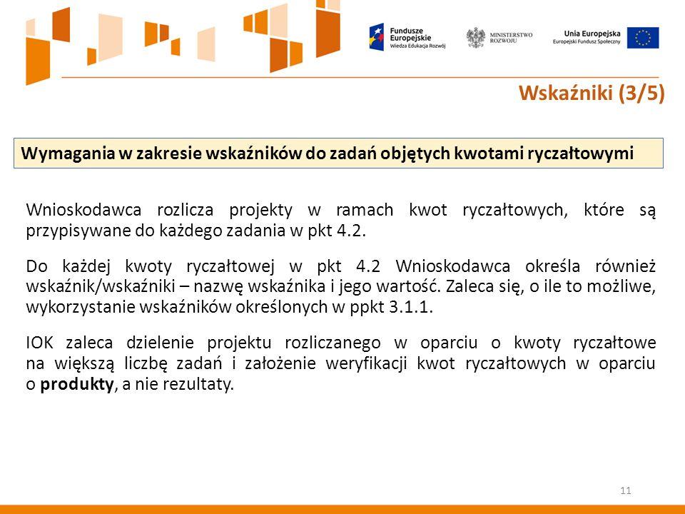 Wnioskodawca rozlicza projekty w ramach kwot ryczałtowych, które są przypisywane do każdego zadania w pkt 4.2.