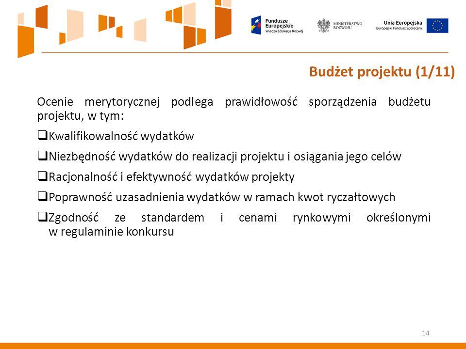 Ocenie merytorycznej podlega prawidłowość sporządzenia budżetu projektu, w tym:  Kwalifikowalność wydatków  Niezbędność wydatków do realizacji projektu i osiągania jego celów  Racjonalność i efektywność wydatków projekty  Poprawność uzasadnienia wydatków w ramach kwot ryczałtowych  Zgodność ze standardem i cenami rynkowymi określonymi w regulaminie konkursu 14 Budżet projektu (1/11)