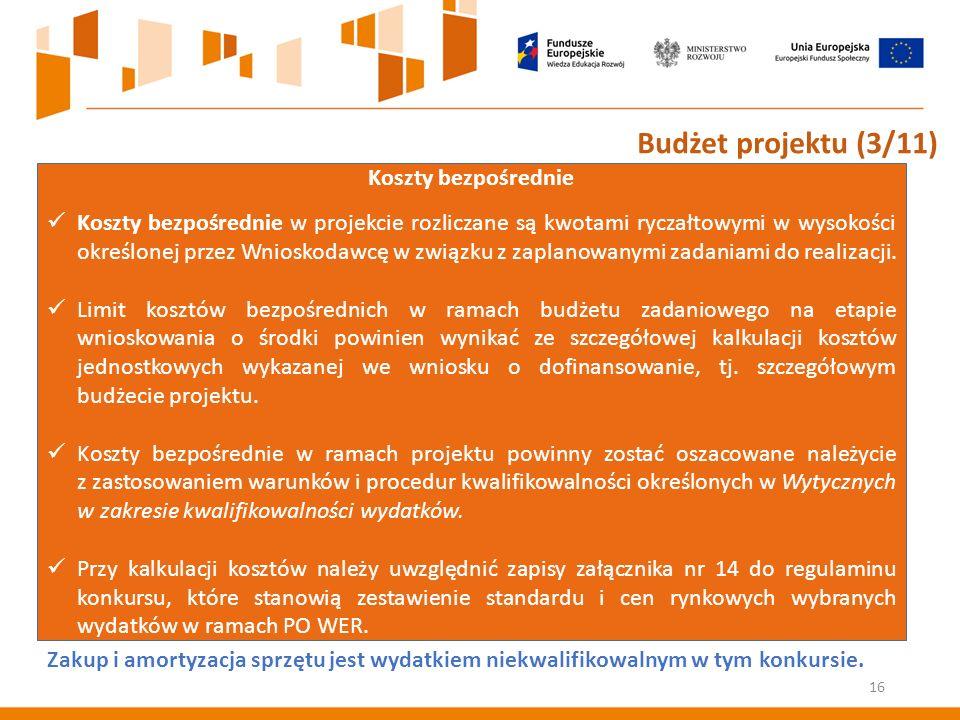 Koszty bezpośrednie Koszty bezpośrednie w projekcie rozliczane są kwotami ryczałtowymi w wysokości określonej przez Wnioskodawcę w związku z zaplanowanymi zadaniami do realizacji.