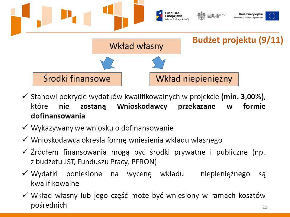 Środki finansoweWkład niepieniężny Stanowi pokrycie wydatków kwalifikowalnych w projekcie (min.