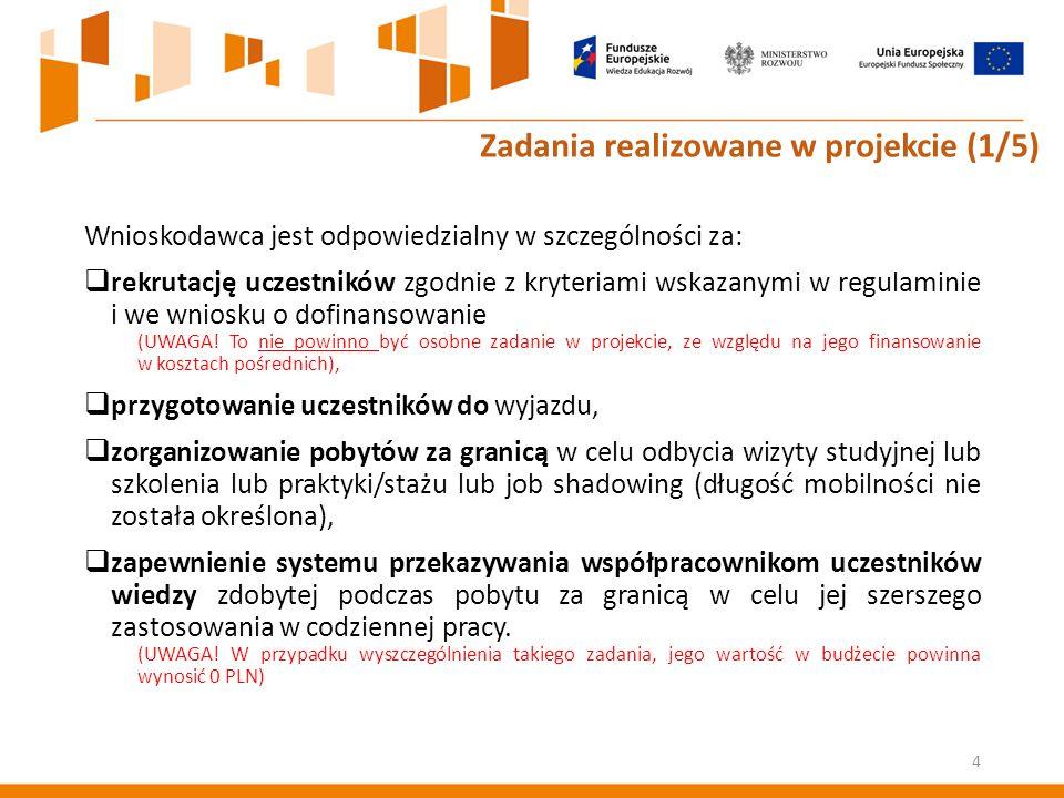Wnioskodawca jest odpowiedzialny w szczególności za:  rekrutację uczestników zgodnie z kryteriami wskazanymi w regulaminie i we wniosku o dofinansowanie (UWAGA.