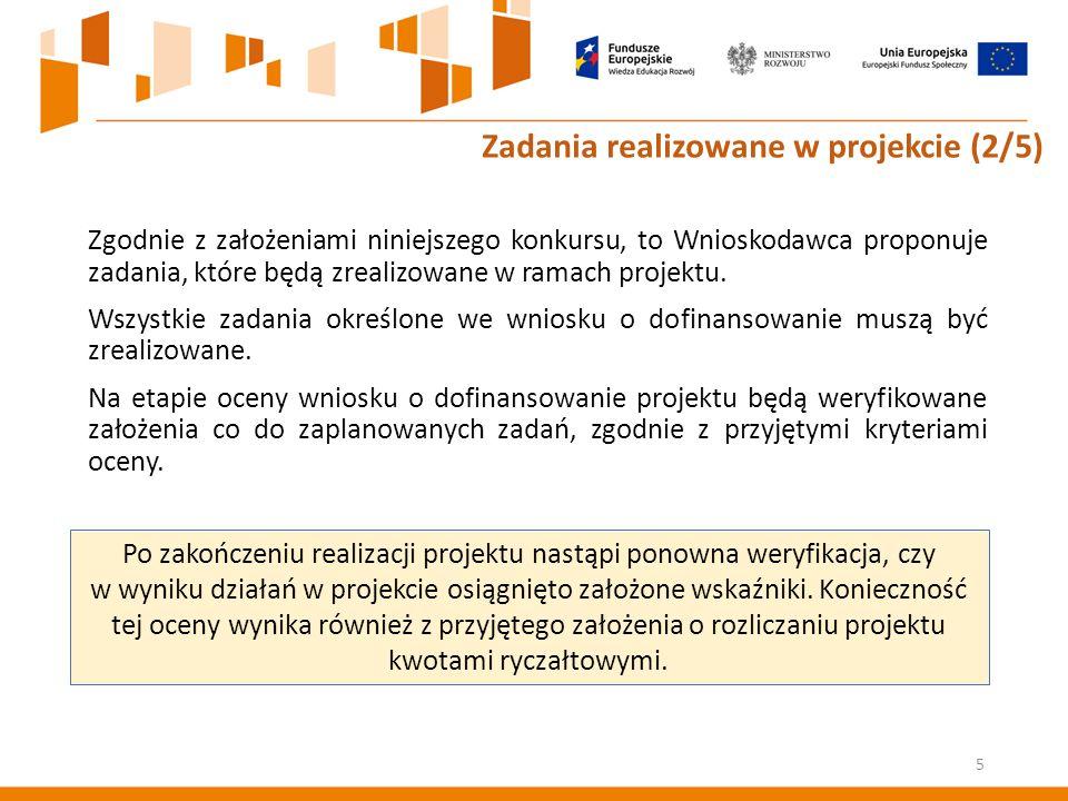 Zgodnie z założeniami niniejszego konkursu, to Wnioskodawca proponuje zadania, które będą zrealizowane w ramach projektu.