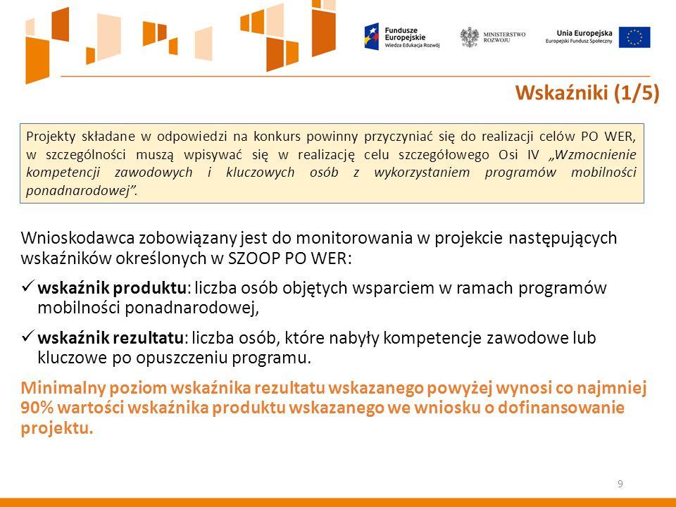 Wnioskodawca zobowiązany jest do monitorowania w projekcie następujących wskaźników określonych w SZOOP PO WER: wskaźnik produktu: liczba osób objętych wsparciem w ramach programów mobilności ponadnarodowej, wskaźnik rezultatu: liczba osób, które nabyły kompetencje zawodowe lub kluczowe po opuszczeniu programu.