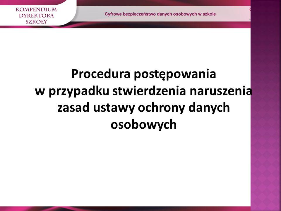 Procedura postępowania w przypadku stwierdzenia naruszenia zasad ustawy ochrony danych osobowych