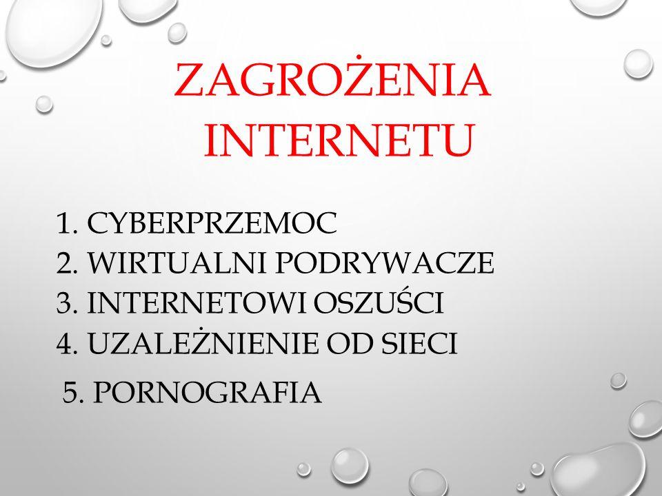 ZAGROŻENIA INTERNETU 1. CYBERPRZEMOC 2. WIRTUALNI PODRYWACZE 3.