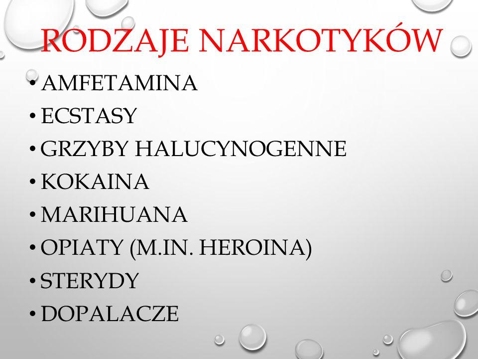 RODZAJE NARKOTYKÓW AMFETAMINA ECSTASY GRZYBY HALUCYNOGENNE KOKAINA MARIHUANA OPIATY (M.IN.