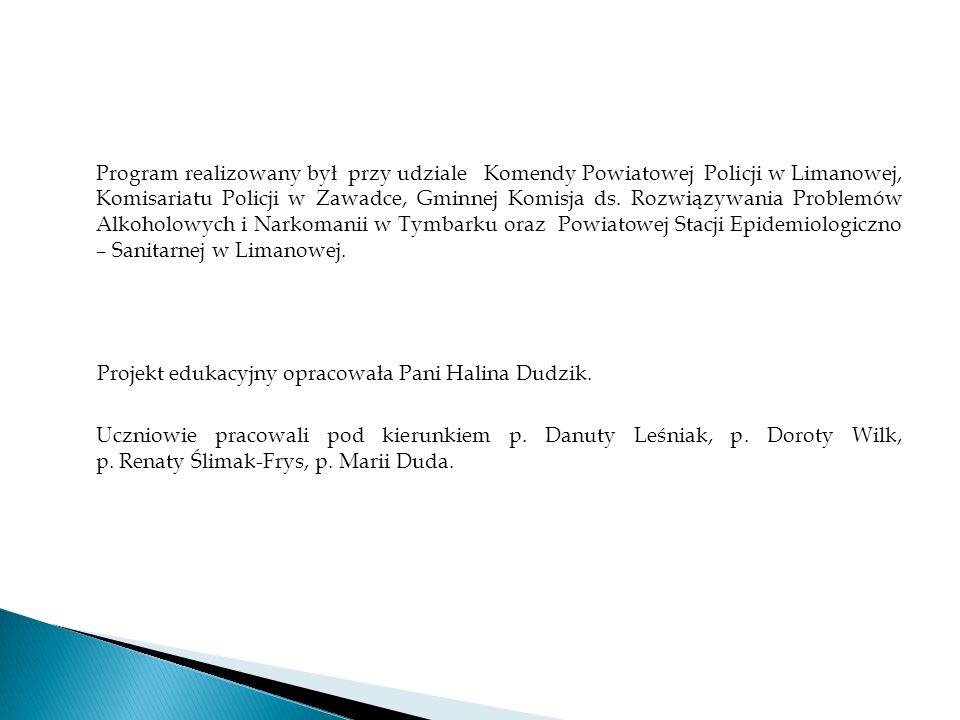 Program realizowany był przy udziale Komendy Powiatowej Policji w Limanowej, Komisariatu Policji w Zawadce, Gminnej Komisja ds.