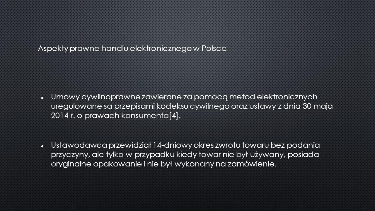 Aspekty prawne handlu elektronicznego w Polsce Umowy cywilnoprawne zawierane za pomocą metod elektronicznych uregulowane są przepisami kodeksu cywilnego oraz ustawy z dnia 30 maja 2014 r.