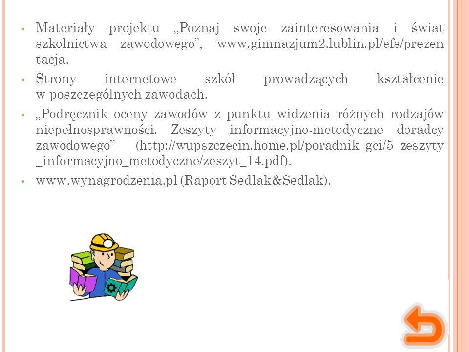 """Materiały projektu """"Poznaj swoje zainteresowania i świat szkolnictwa zawodowego , www.gimnazjum2.lublin.pl/efs/prezen tacja."""