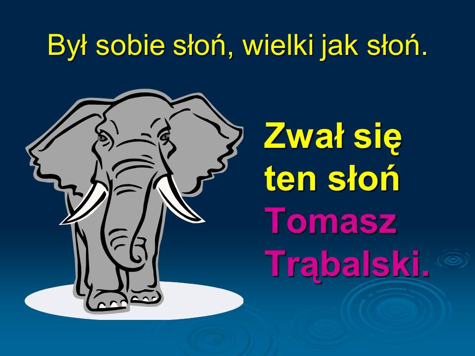 Był sobie słoń, wielki jak słoń. Zwał się ten słoń Tomasz Trąbalski.