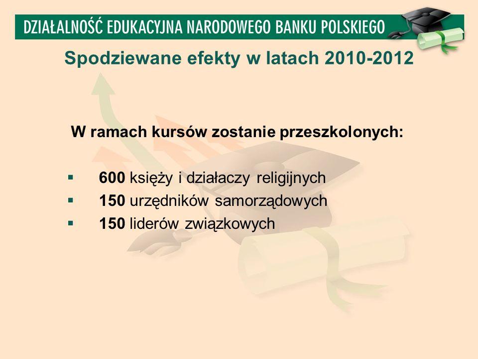 W ramach kursów zostanie przeszkolonych:  600 księży i działaczy religijnych  150 urzędników samorządowych  150 liderów związkowych Spodziewane efekty w latach 2010-2012