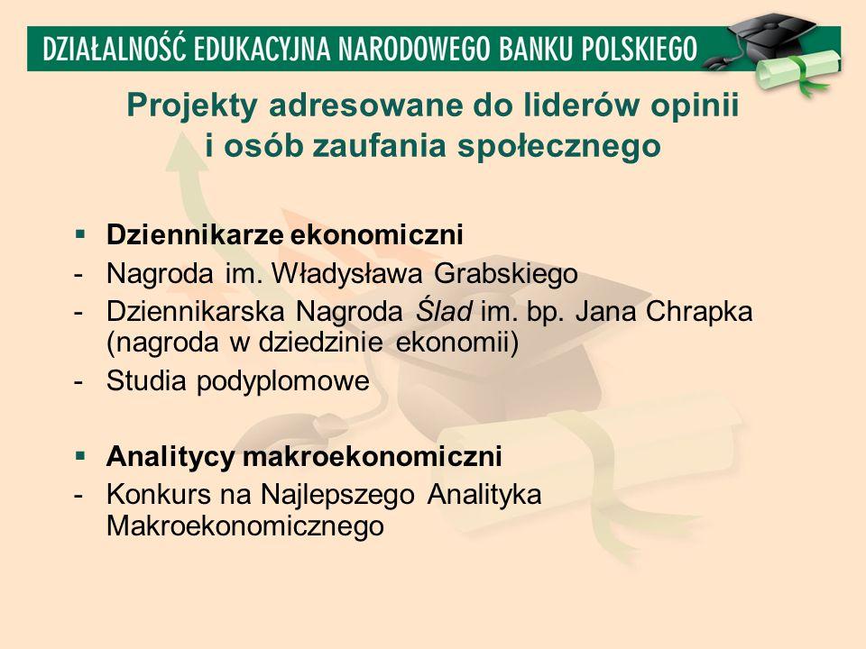 Projekty adresowane do liderów opinii i osób zaufania społecznego  Dziennikarze ekonomiczni - Nagroda im.