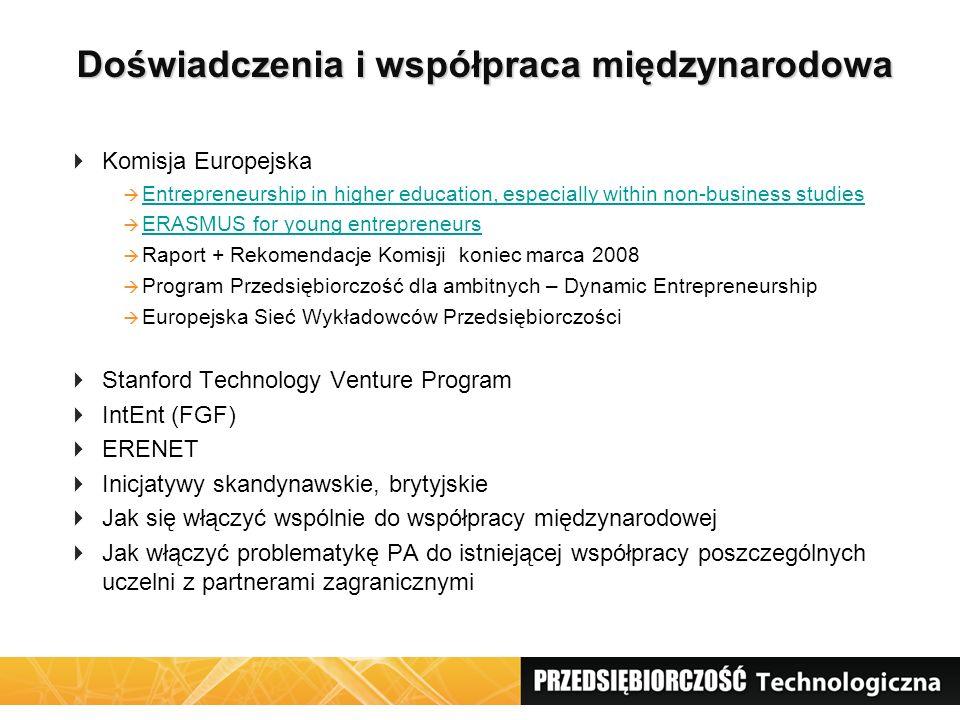 Doświadczenia i współpraca międzynarodowa Doświadczenia i współpraca międzynarodowa  Komisja Europejska  Entrepreneurship in higher education, espec