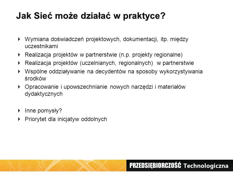 Jak Sieć może działać w praktyce?  Wymiana doświadczeń projektowych, dokumentacji, itp. między uczestnikami  Realizacja projektów w partnerstwie (n.