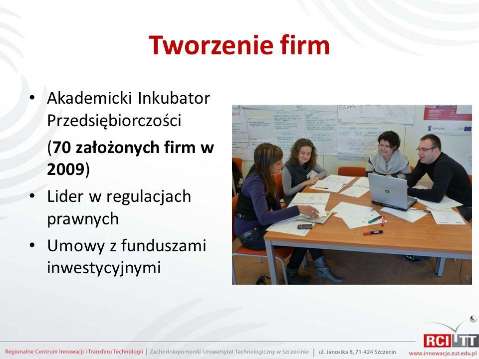 Tworzenie firm Akademicki Inkubator Przedsiębiorczości (70 założonych firm w 2009) Lider w regulacjach prawnych Umowy z funduszami inwestycyjnymi