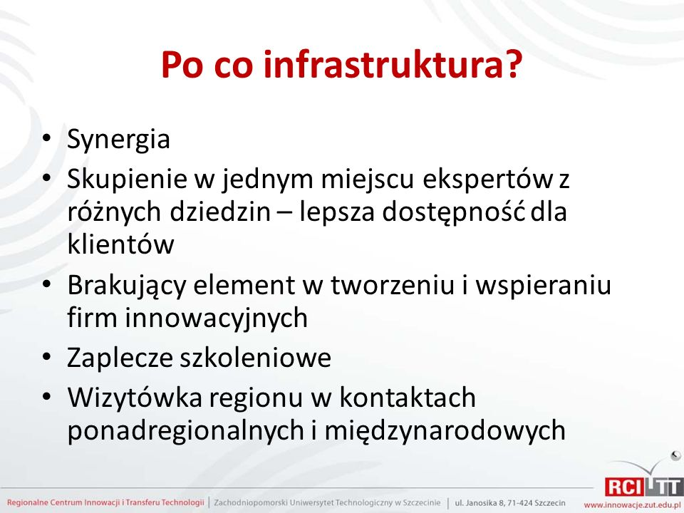 Po co infrastruktura.