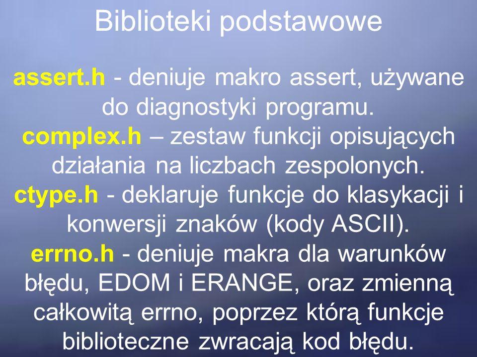 Biblioteki podstawowe assert.h - deniuje makro assert, używane do diagnostyki programu.